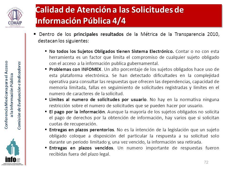 Calidad de Atención a las Solicitudes de Información Pública 4/4