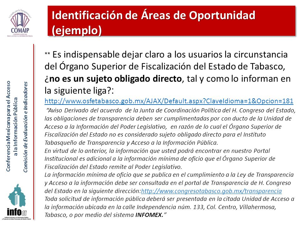 Identificación de Áreas de Oportunidad (ejemplo)