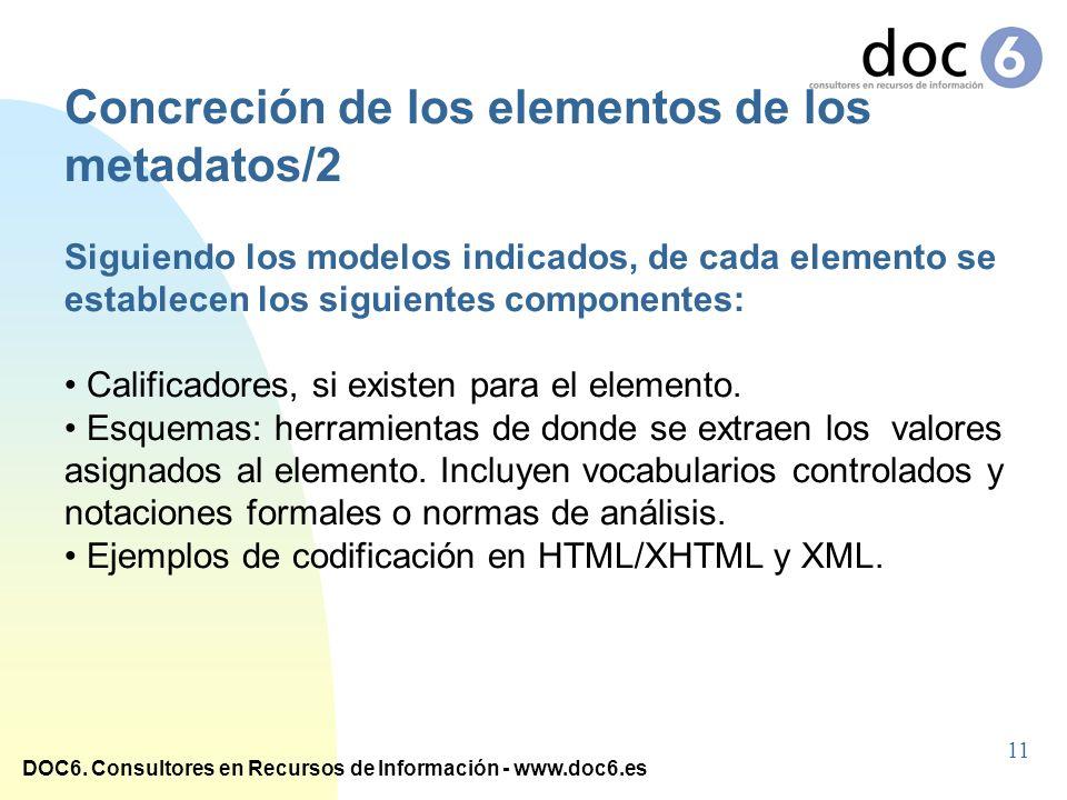 Concreción de los elementos de los metadatos/2