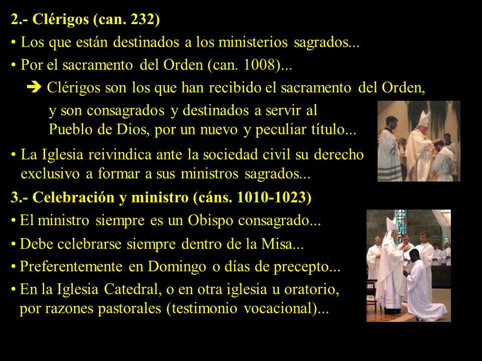 2.- Clérigos (can. 232) Los que están destinados a los ministerios sagrados... Por el sacramento del Orden (can. 1008)...
