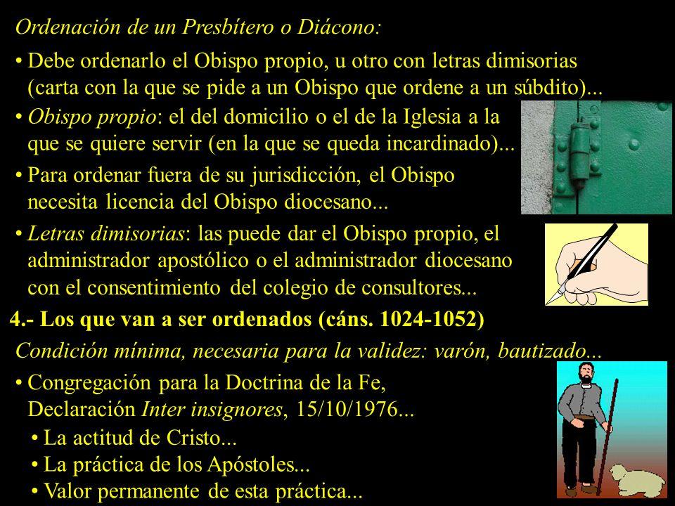 Ordenación de un Presbítero o Diácono: