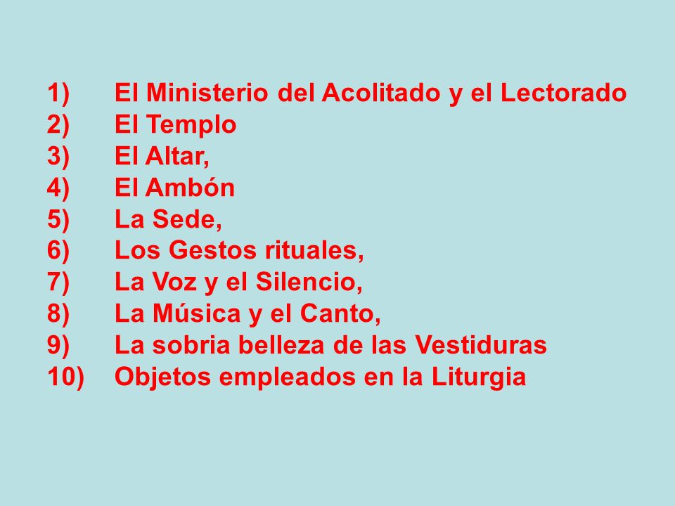 1) El Ministerio del Acolitado y el Lectorado