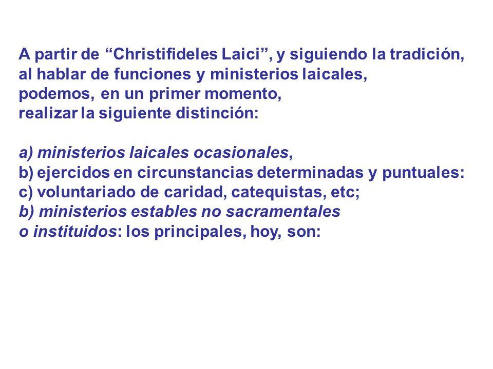 A partir de Christifideles Laici , y siguiendo la tradición,
