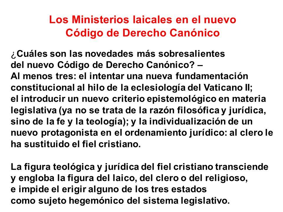 Los Ministerios laicales en el nuevo Código de Derecho Canónico