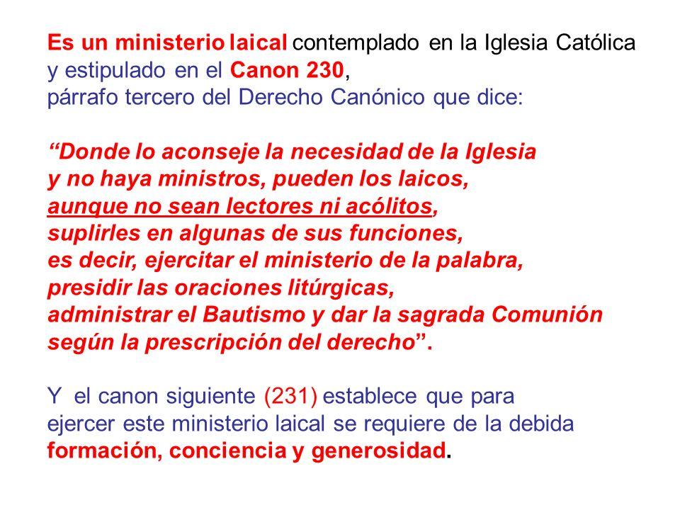 Es un ministerio laical contemplado en la Iglesia Católica