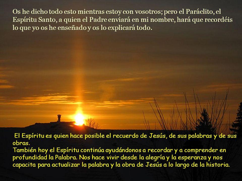 Os he dicho todo esto mientras estoy con vosotros; pero el Paráclito, el Espíritu Santo, a quien el Padre enviará en mi nombre, hará que recordéis lo que yo os he enseñado y os lo explicará todo.