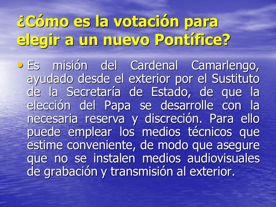 ¿Cómo es la votación para elegir a un nuevo Pontífice