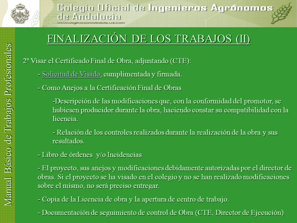 FINALIZACIÓN DE LOS TRABAJOS (II)