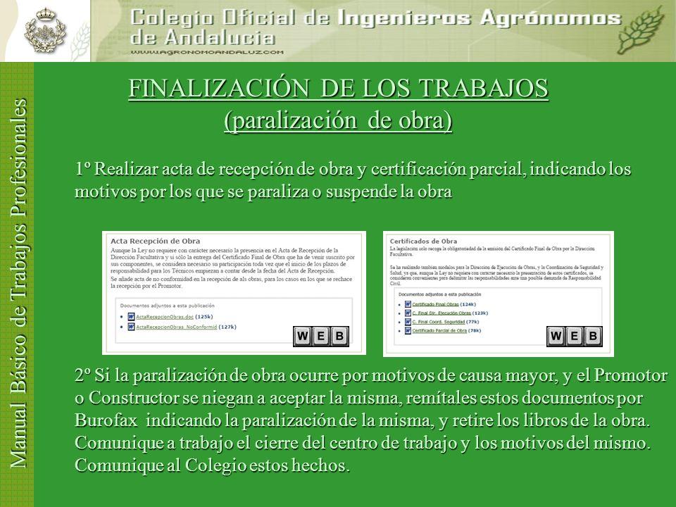 FINALIZACIÓN DE LOS TRABAJOS (paralización de obra)