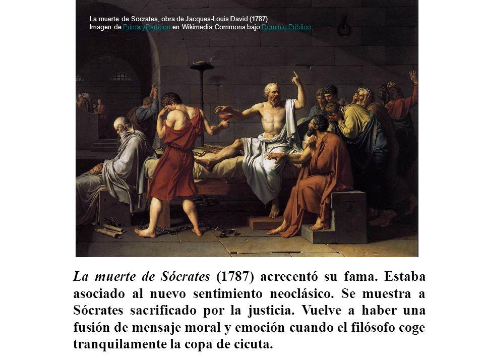 La muerte de Socrates, obra de Jacques-Louis David (1787) Imagen de PrimaryPartition en Wikimedia Commons bajo Dominio Público