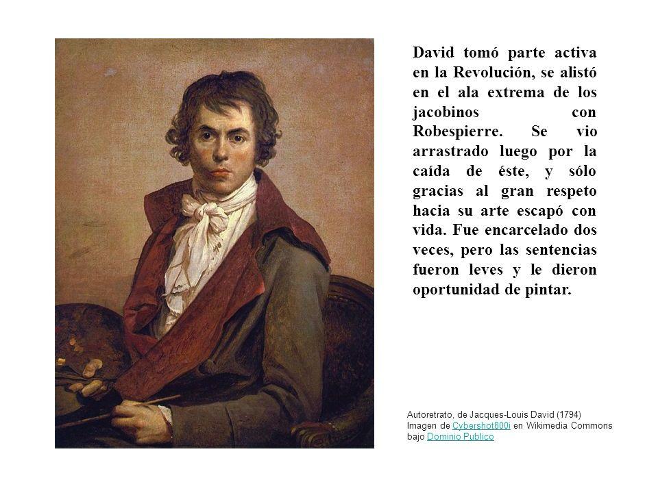 David tomó parte activa en la Revolución, se alistó en el ala extrema de los jacobinos con Robespierre. Se vio arrastrado luego por la caída de éste, y sólo gracias al gran respeto hacia su arte escapó con vida. Fue encarcelado dos veces, pero las sentencias fueron leves y le dieron oportunidad de pintar.