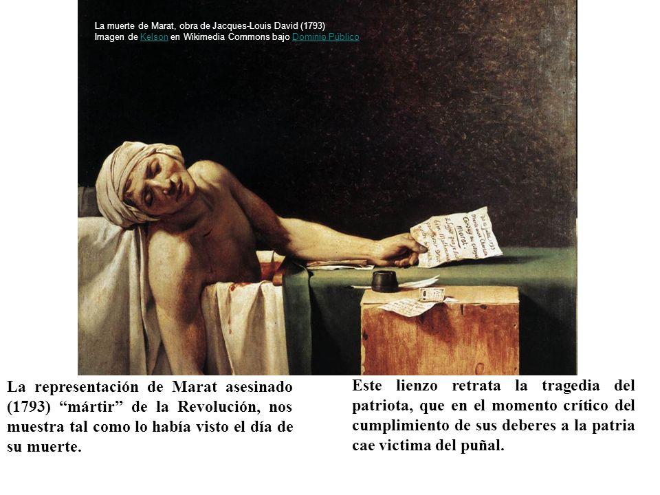 La muerte de Marat, obra de Jacques-Louis David (1793) Imagen de Kelson en Wikimedia Commons bajo Dominio Público