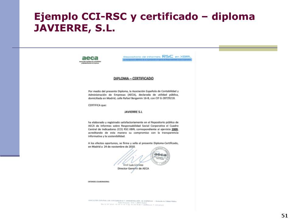 Ejemplo CCI-RSC y certificado – diploma JAVIERRE, S.L.