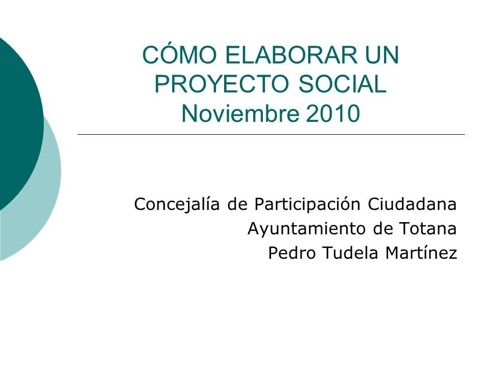 CÓMO ELABORAR UN PROYECTO SOCIAL Noviembre 2010