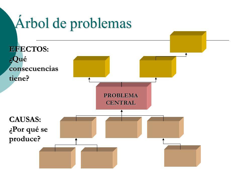 Árbol de problemas EFECTOS: ¿Qué consecuencias tiene CAUSAS: