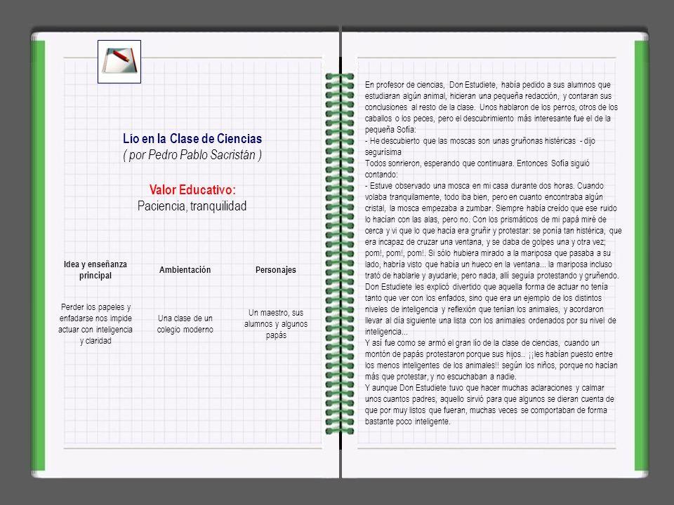 Lío en la Clase de Ciencias Idea y enseñanza principal