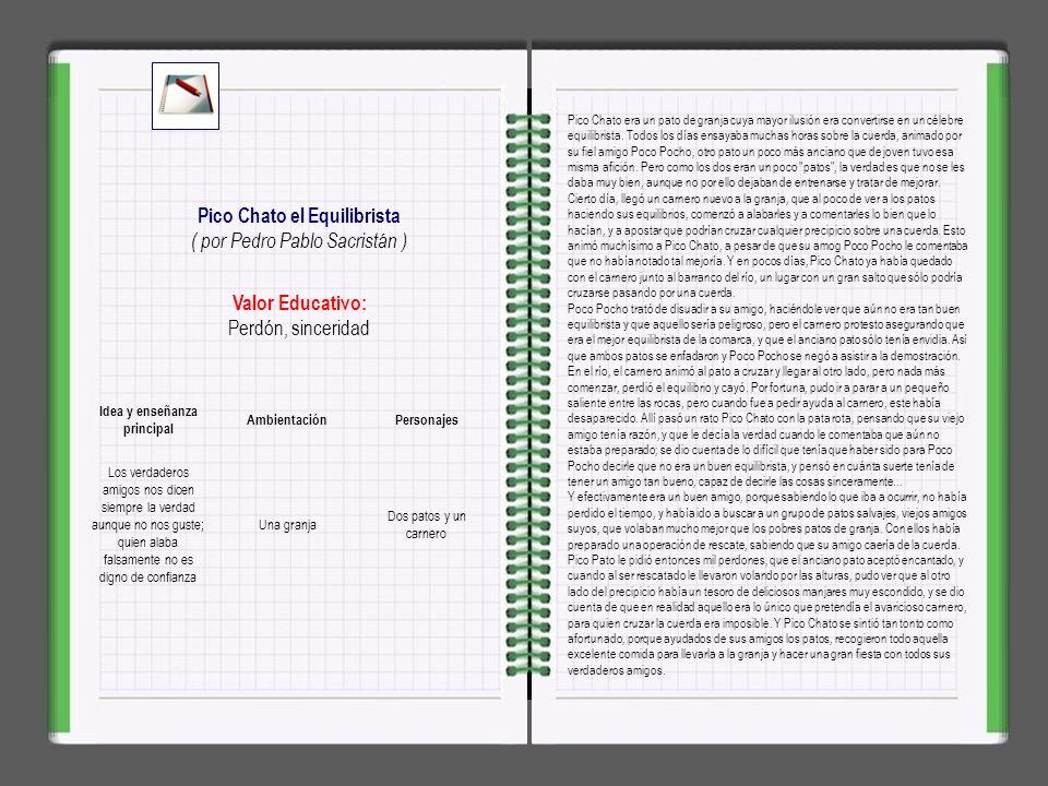 Pico Chato el Equilibrista Idea y enseñanza principal