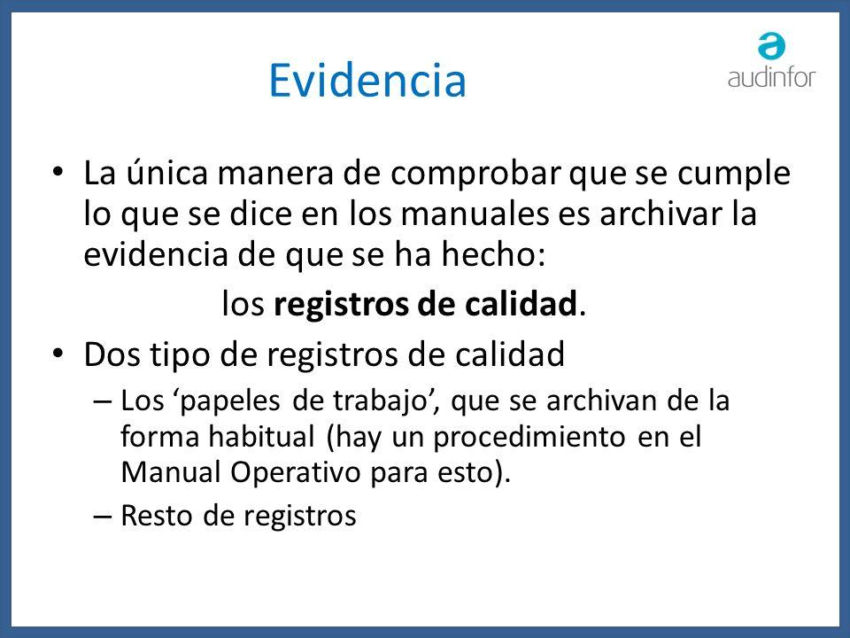 Evidencia La única manera de comprobar que se cumple lo que se dice en los manuales es archivar la evidencia de que se ha hecho: