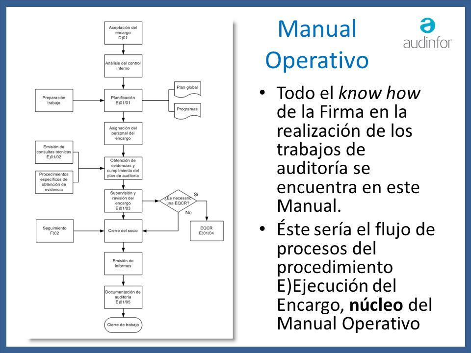 Manual Operativo Todo el know how de la Firma en la realización de los trabajos de auditoría se encuentra en este Manual.