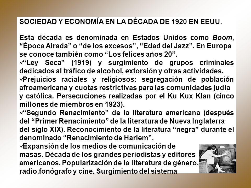 SOCIEDAD Y ECONOMÍA EN LA DÉCADA DE 1920 EN EEUU.