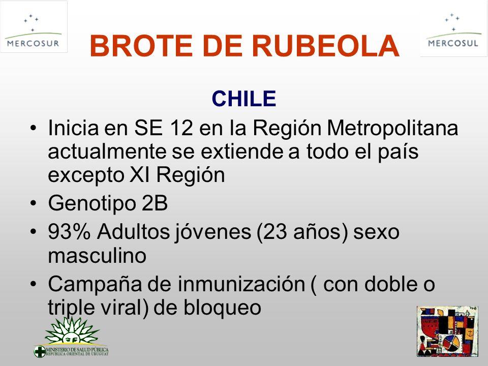 BROTE DE RUBEOLA CHILE. Inicia en SE 12 en la Región Metropolitana actualmente se extiende a todo el país excepto XI Región.
