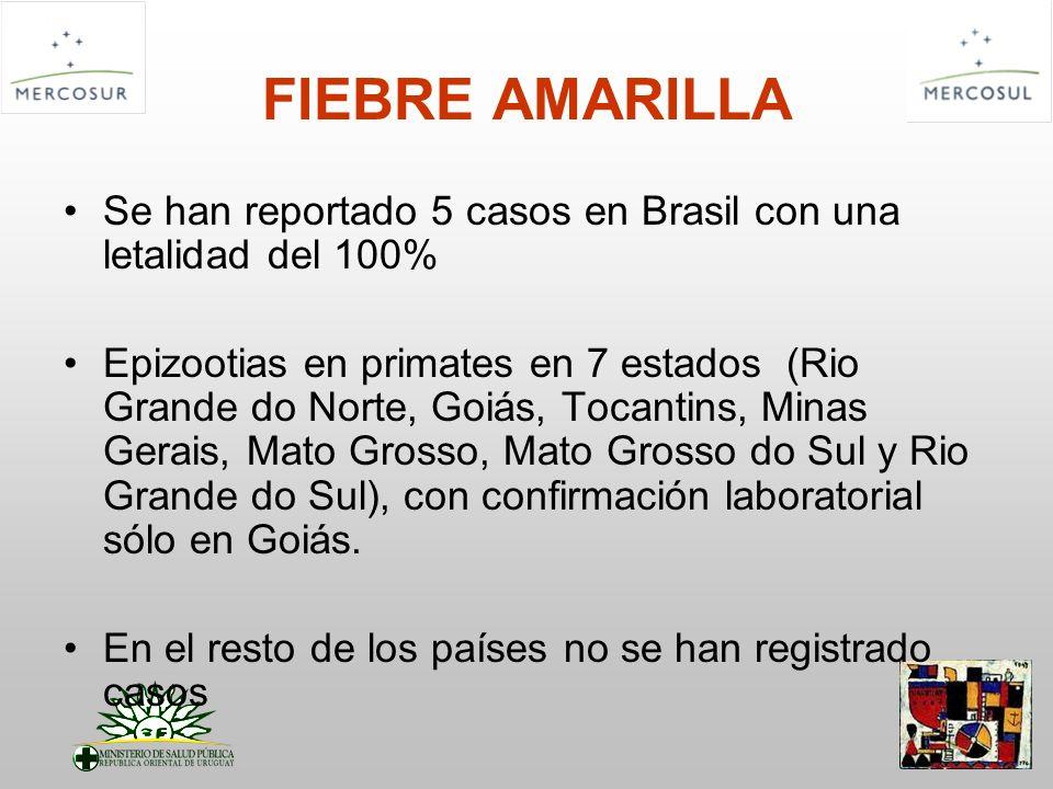 FIEBRE AMARILLA Se han reportado 5 casos en Brasil con una letalidad del 100%