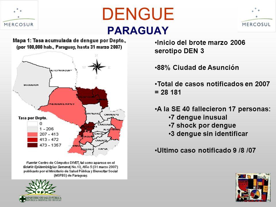 DENGUE PARAGUAY Inicio del brote marzo 2006 serotipo DEN 3