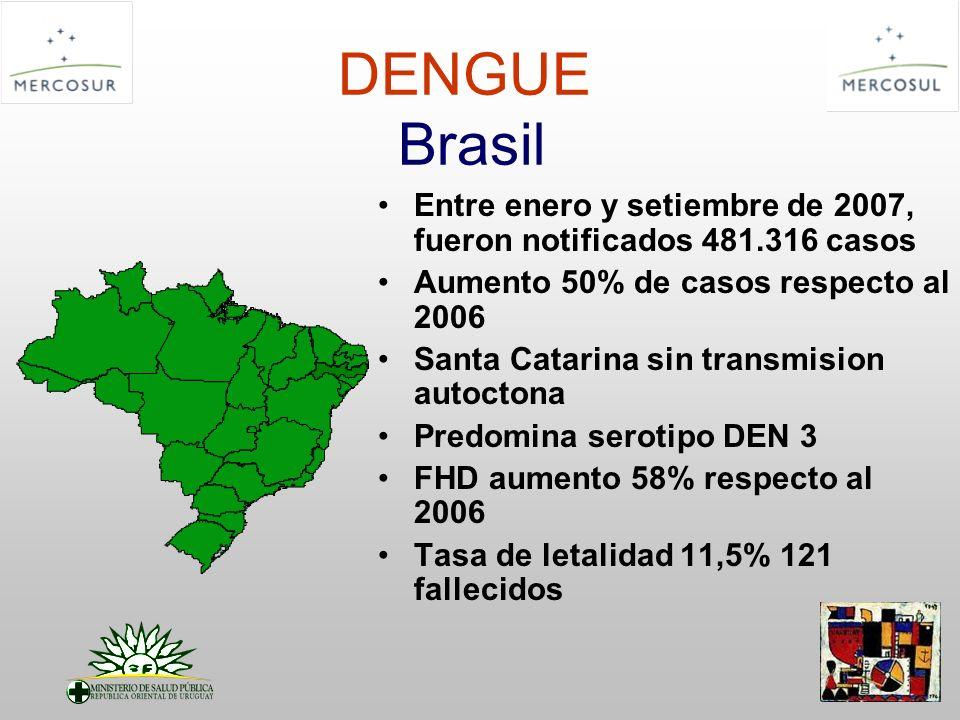 DENGUE Brasil Entre enero y setiembre de 2007, fueron notificados 481.316 casos. Aumento 50% de casos respecto al 2006.