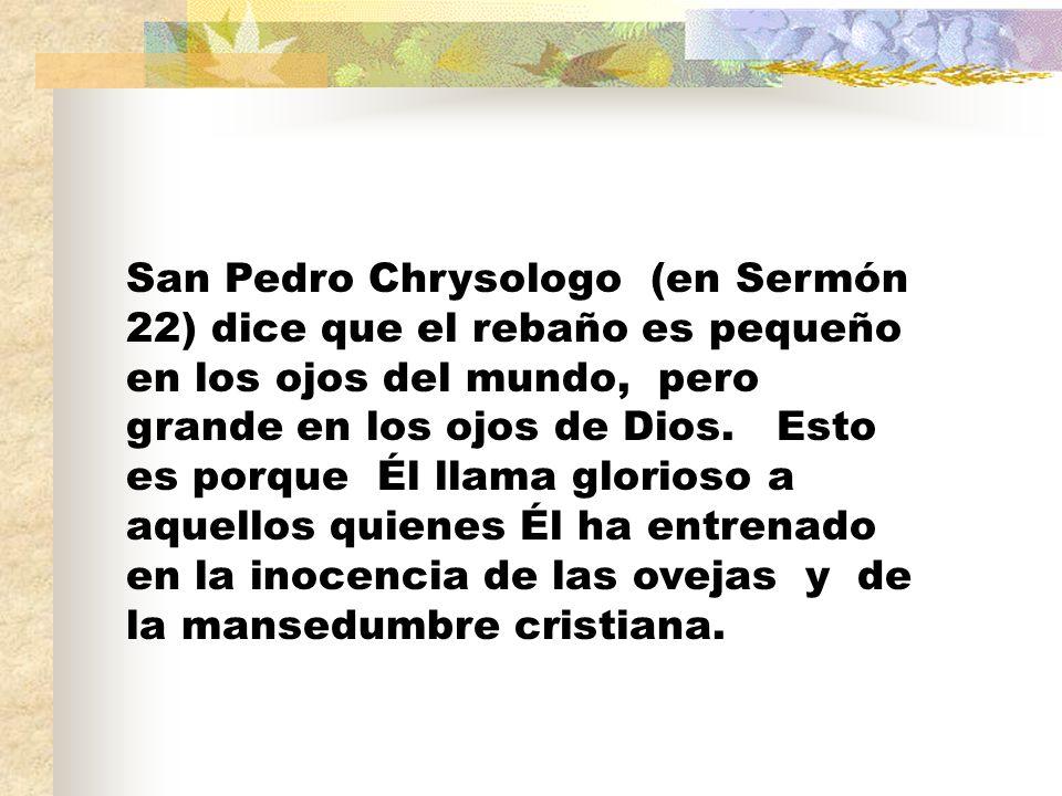 San Pedro Chrysologo (en Sermón 22) dice que el rebaño es pequeño en los ojos del mundo, pero grande en los ojos de Dios.