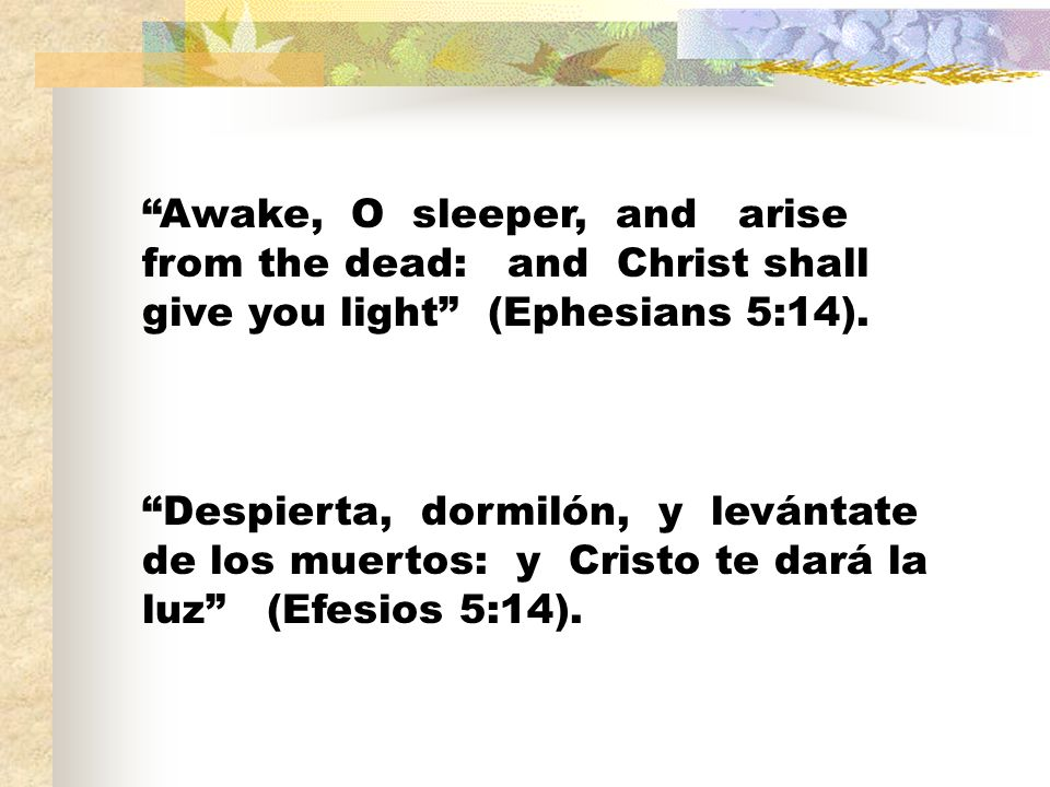 Awake, O sleeper, and arise from the dead: and Christ shall give you light (Ephesians 5:14).
