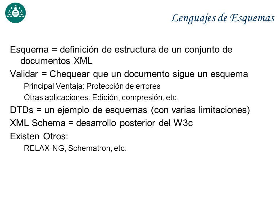 Lenguajes de Esquemas Esquema = definición de estructura de un conjunto de documentos XML. Validar = Chequear que un documento sigue un esquema.