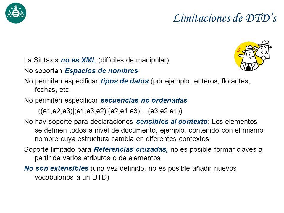 Limitaciones de DTD's La Sintaxis no es XML (difíciles de manipular)