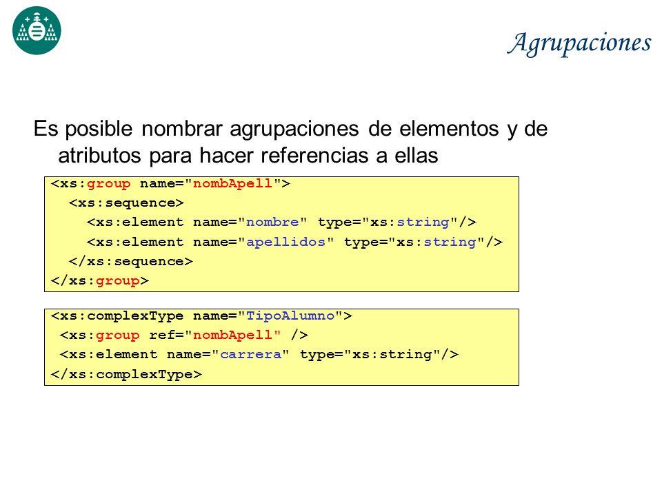 Agrupaciones Es posible nombrar agrupaciones de elementos y de atributos para hacer referencias a ellas.