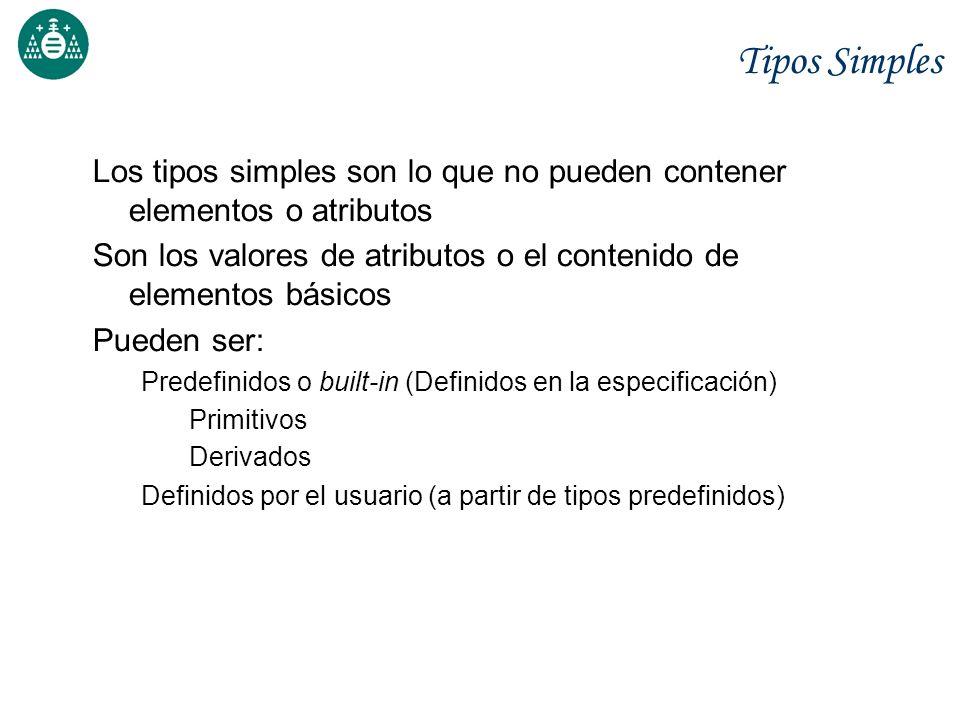 Tipos Simples Los tipos simples son lo que no pueden contener elementos o atributos.