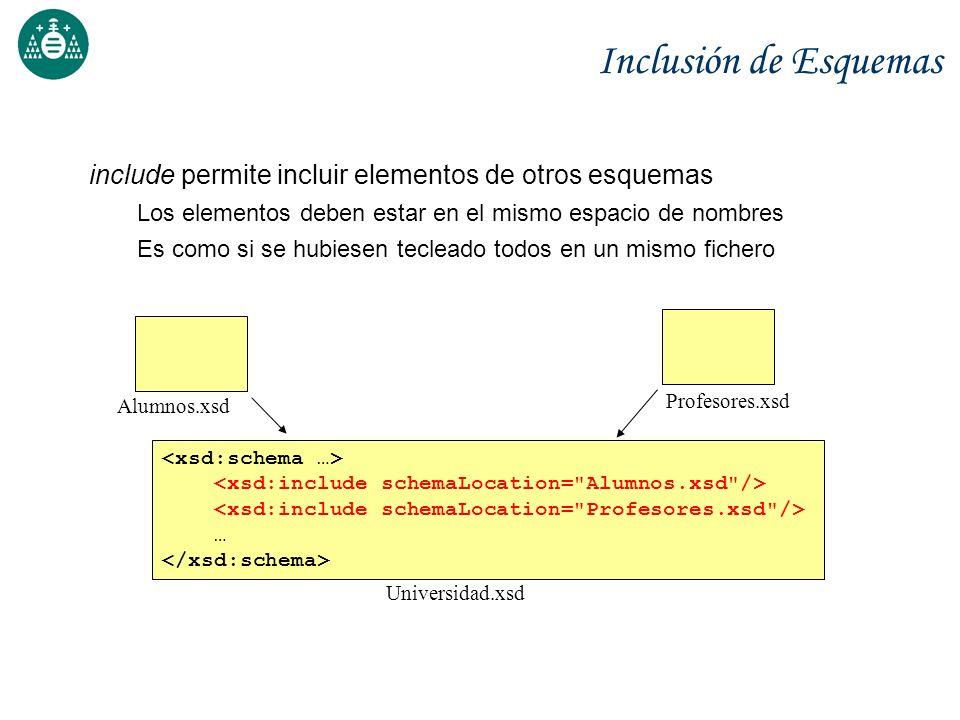 Inclusión de Esquemas include permite incluir elementos de otros esquemas. Los elementos deben estar en el mismo espacio de nombres.