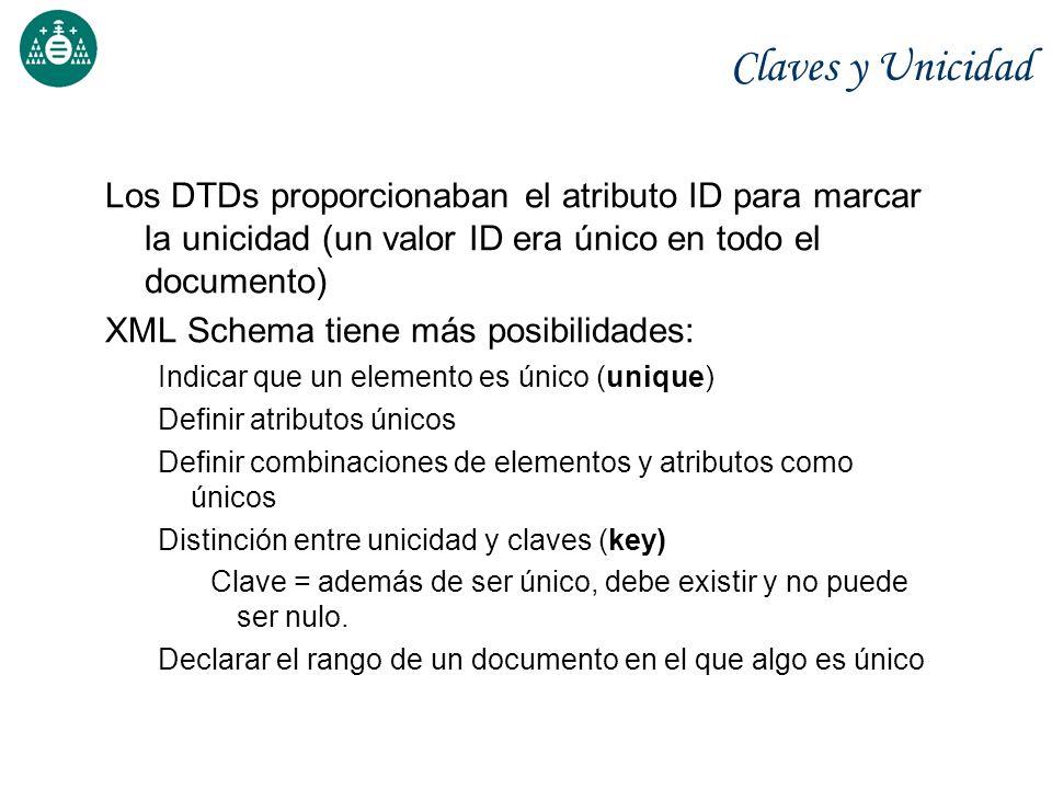 Claves y Unicidad Los DTDs proporcionaban el atributo ID para marcar la unicidad (un valor ID era único en todo el documento)