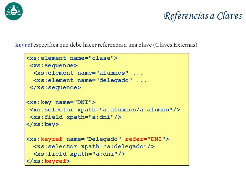Referencias a Claves keyref especifica que debe hacer referencia a una clave (Claves Externas) <xs:element name= clase >