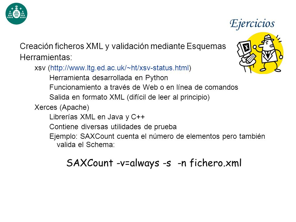 SAXCount -v=always -s -n fichero.xml