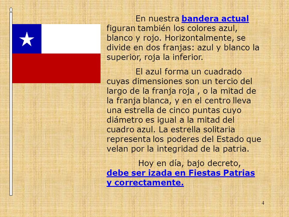 En nuestra bandera actual figuran también los colores azul, blanco y rojo. Horizontalmente, se divide en dos franjas: azul y blanco la superior, roja la inferior.