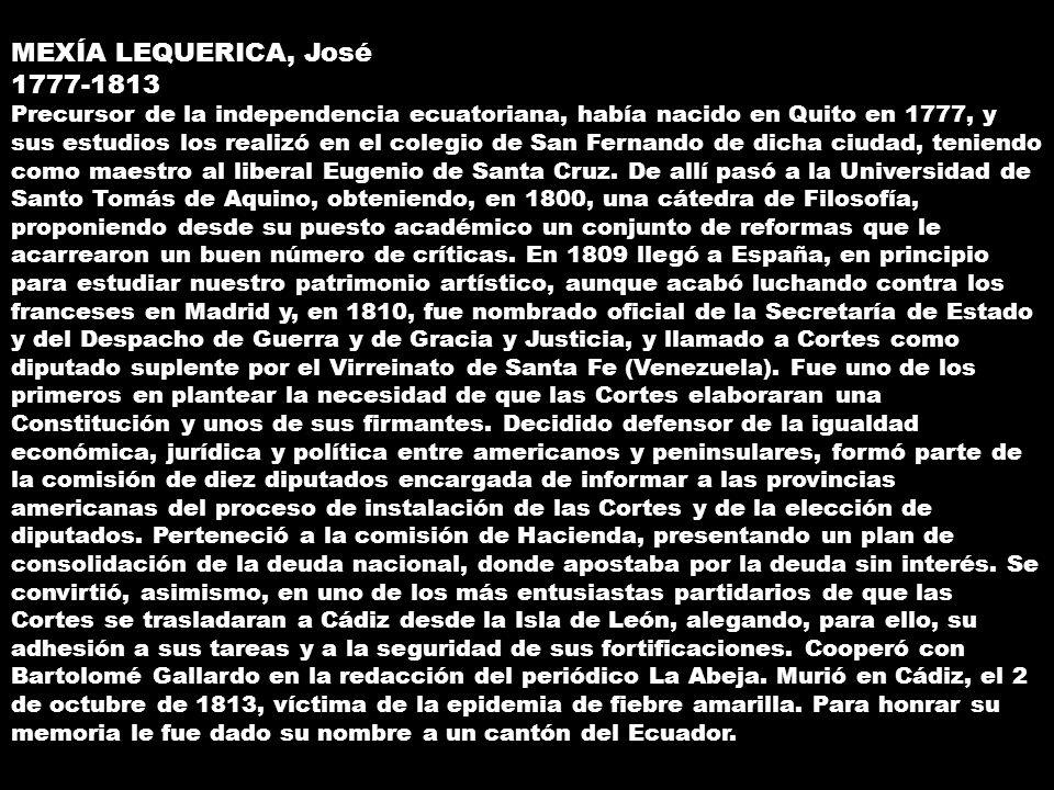MEXÍA LEQUERICA, José.