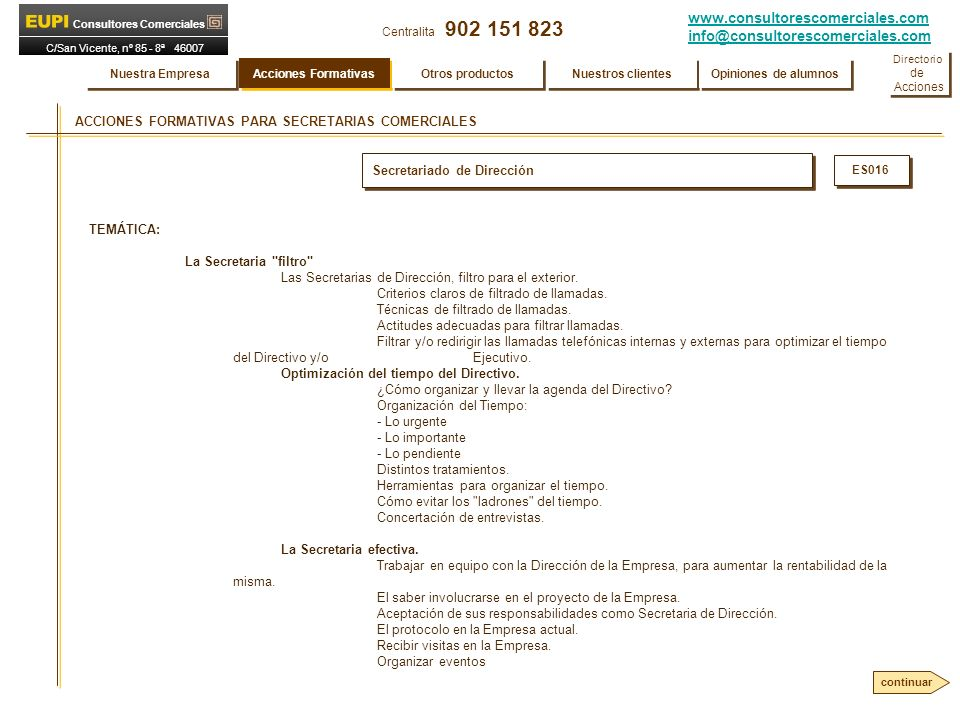 ACCIONES FORMATIVAS PARA SECRETARIAS COMERCIALES