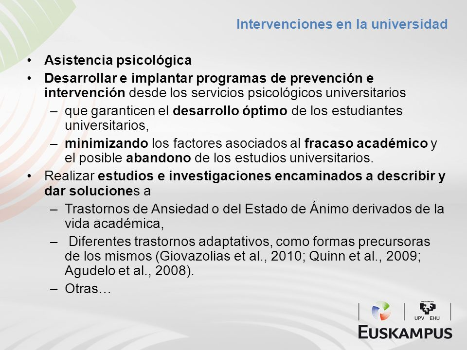 Intervenciones en la universidad