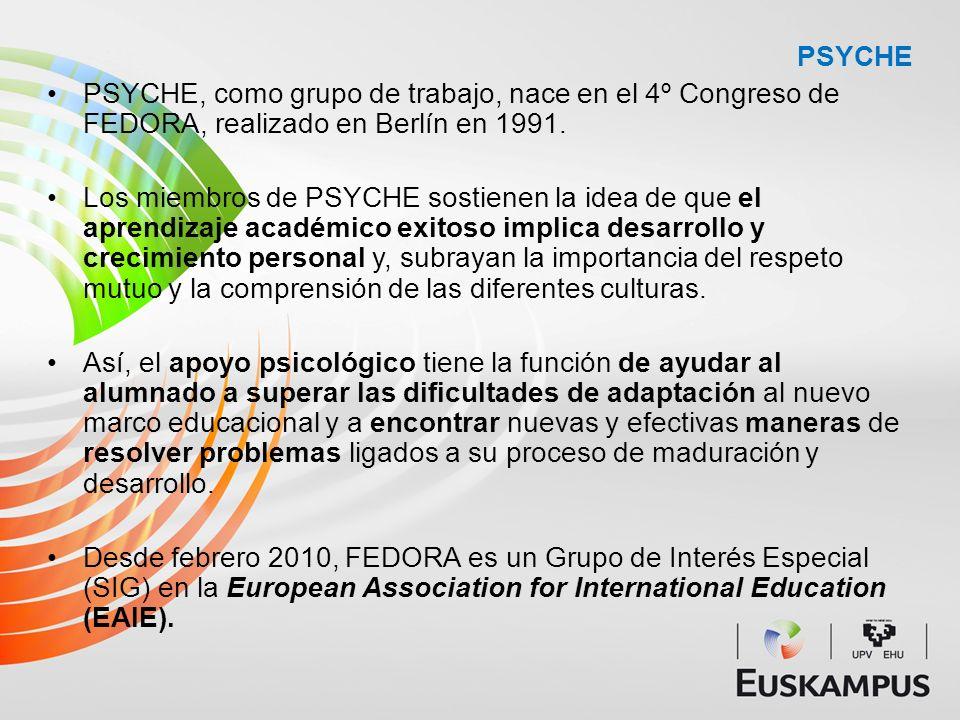 PSYCHE PSYCHE, como grupo de trabajo, nace en el 4º Congreso de FEDORA, realizado en Berlín en 1991.