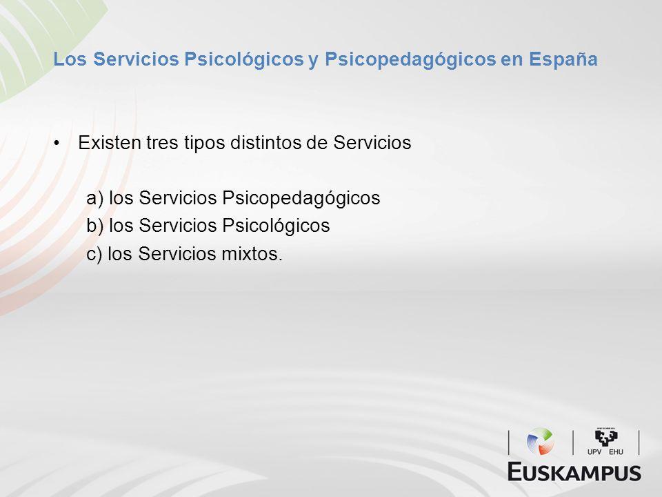 Los Servicios Psicológicos y Psicopedagógicos en España