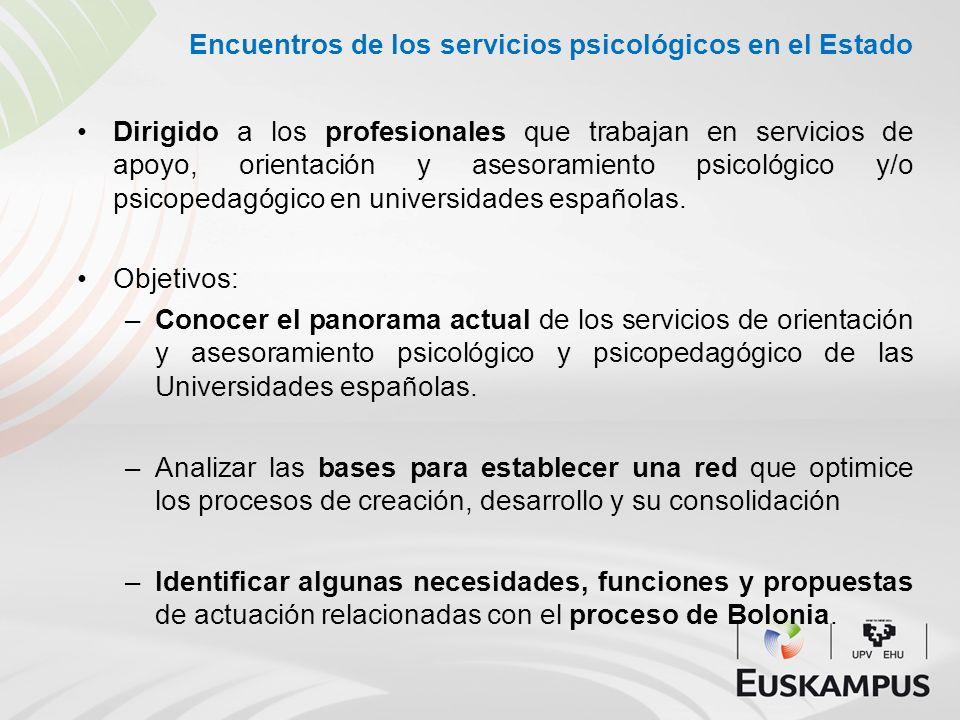 Encuentros de los servicios psicológicos en el Estado