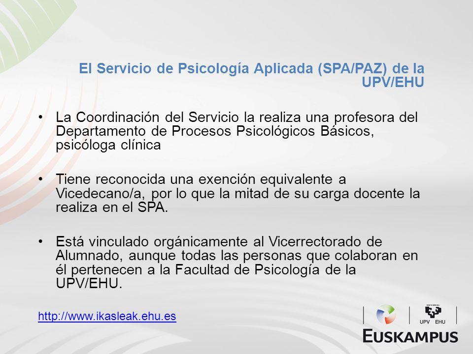 El Servicio de Psicología Aplicada (SPA/PAZ) de la UPV/EHU
