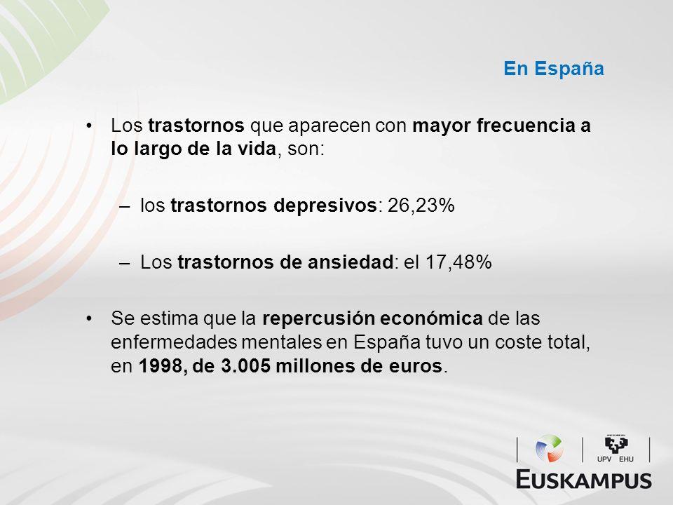 En España Los trastornos que aparecen con mayor frecuencia a lo largo de la vida, son: los trastornos depresivos: 26,23%