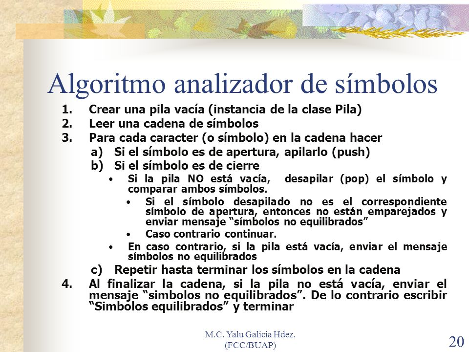 Algoritmo analizador de símbolos