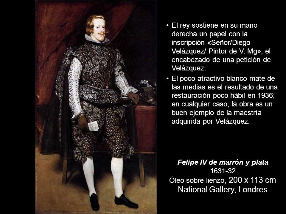 El rey sostiene en su mano derecha un papel con la inscripción «Señor/Diego Velázquez/ Pintor de V. Mg», el encabezado de una petición de Velázquez.