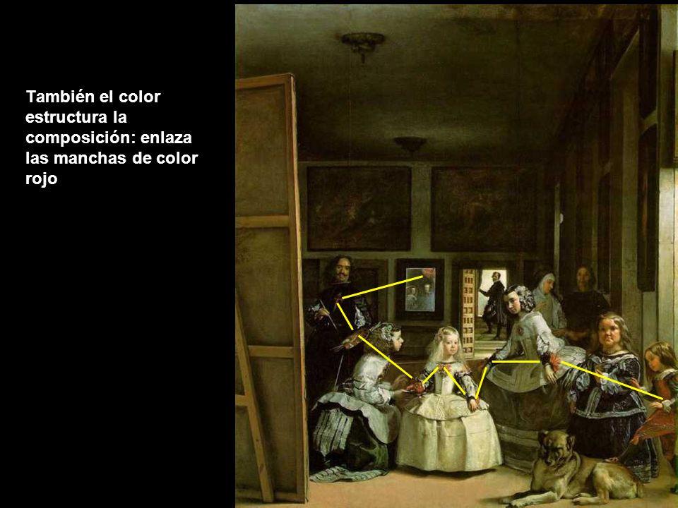 También el color estructura la composición: enlaza las manchas de color rojo